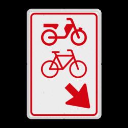 Verkeersbord (brom-)fietsers zijn verplicht bord te passeren aan de richting die de pijl aangeeft. Van rijbaan verwisselen. Verkeersbord RVV D107 - (brom-)fietsers van rijbaan wissen D107