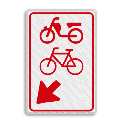 Verkeersbord (brom-)fietsers zijn verplicht bord te passeren aan de richting die de pijl aangeeft. Van rijbaan verwisselen. Verkeersbord RVV D108 - (brom-)fietsers van rijbaan wissen D108