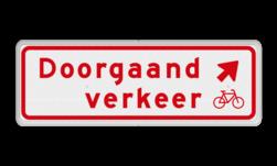 Verkeersbord Doorgaand verkeer schuin rechts voor fietsers. Verkeersbord RVV BW02rb 600x200mm - Doorgaand verkeer BW02rb
