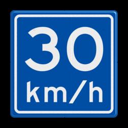 Verkeersbord Adviessnelheid is 30 km/h Verkeersbord RVV A04 - Adviessnelheid A04-030