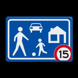 Verkeersbord Woonerf met snelheidsbeperking Verkeersbord RVV G05 Woonerf met snelheidsaanduiding A01-xx