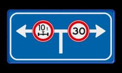Verkeersbord De officiële betekenis van het Informatiebord RVV L10 is Vooraanduiding Verkeersmaatregel voor de aangegeven richtingen. Verkeersbord RVV L10-02lr L10