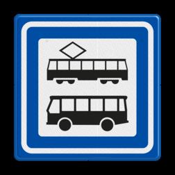 Verkeersbord Tramhalte/bushalte Verkeersbord RVV L03a - Tramhalte-bushalte L03a