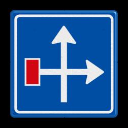 Verkeersbord Voorwaarschuwing doodlopende weg Verkeersbord RVV L09-4r - Doodlopende weg - voorwaarschuwing L09