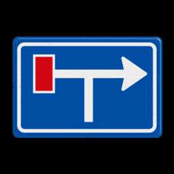Verkeersbord Voorwaarschuwing links doodlopende weg Verkeersbord RVV L09-1lt - Doodlopende weg - voorwaarschuwing L09