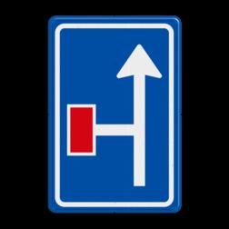 Verkeersbord Voorwaarschuwing links doodlopende weg Verkeersbord RVV L09-2l - Doodlopende weg - voorwaarschuwing L09