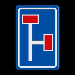 Verkeersbord Voorwaarschuwing rechtdoor en rechts doodlopende weg Verkeersbord RVV L09-3r - Doodlopende weg - voorwaarschuwing L09