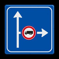 Verkeersbord Vooraanduiding verkeersmaatregel voor de aangegeven richting Verkeersbord RVV L10-02r-C07 - rechts verboden voor vrachtverkeer L10-02r-C07