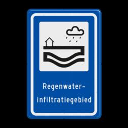 Verkeersbord Deze borden geven aan dat je in een Regenwaterinfiltratiegebied bent. In deze gebieden wordt regenwater apart ingezameld en rechtstreeks infiltreert (wegzakt) in de bodem. Het regenwater blijft daarmee in het gebied en wordt niet (onnodig) afgevoerd. Verkeersbord RVV L307b - Regenwaterinfiltratiegebied L307