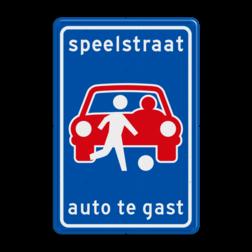 Verkeersbord Speelstraat, auto te gast. Verkeersbord L53b - Speelstraat L53b