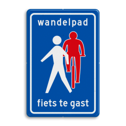 Verkeersbord Wandelpad, fietsers te gast Verkeersbord RVV L55b - Wandelpad L55b