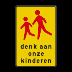 Verkeersbord Let op! Hier kunnen kinderen spelen. Verkeersbord RVV L303 denk aan onze kinderen L303