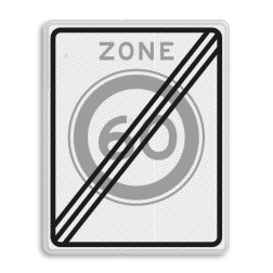 Verkeersbord Einde zone maximum toegestane snelheid 60 kilometer per uur. Verkeersbord RVV A0260ze - Einde zone maximum snelheid A02-060ze