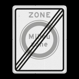 Verkeersbord Einde zone gesloten voor vrachtauto's die niet voldoen aan de eisen, genoemd in artikel 86d Verkeersbord RVV C22aze - zone - Gesloten voor vervuilende vrachtauto's C22aze