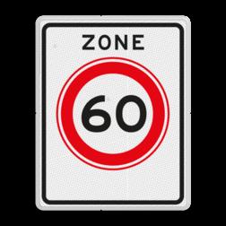 Verkeersbord Zone maximum toegestane snelheid 60 kilometer per uur, geldig tot einde zone. Verkeersbord RVV A01-60zb - Begin zone maximum snelheid A01-060zb