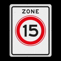 Verkeersbord Zone maximum toegestane snelheid 15 kilometer per uur, geldig tot einde zone. Verkeersbord RVV A0115zb A01-015zb