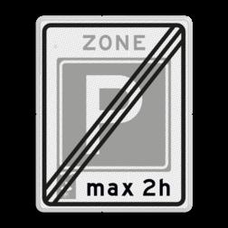 Verkeersbord Einde parkeerzone, het was verplicht een parkeerkaart te gebruiken. Verkeersbord RVV E11ze - Einde parkeerzone E11ze
