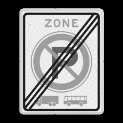 Verkeersbord EINDE ZONE parkeerverbod voor vrachtautos en bussen. Autobus is : motorvoertuig, ingericht voor het vervoer van meer dan acht personen, de bestuurder daaronder niet begrepen Vrachtauto is : motorvoertuig, niet ingericht voor het vervoer van personen, waarvan de toegestane maximum massa meer bedraagt dan 3500 kg Verkeersbord RVV E201ze E201ze