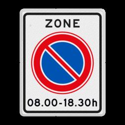 Verkeersbord Zone parkeerverbod voor bepaalde tijden Verkeersbord RVV E01zbh - herhaling parkeerzone E01zbt