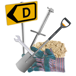 Paal met grondpot in teelaarde (tijdelijk) - openbare weg binnen de kom plaatsen verkeersbord, parkeerpaal monteren, in de grond plaasten, graven, wegwerker,