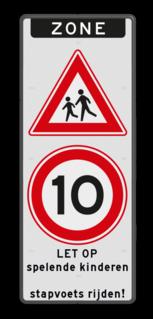 Verkeersbord Zone spelende kinderen + stapvoets rijden Verkeersbord ZONE J21 A01-50 - spelende kinderen / stapvoets rijden