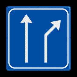 Verkeersbord Splitsing naar rechts Verkeersbord RVV L06-2 - Pijlbord Splitsing L06-2-rd-re