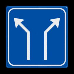 Verkeersbord Splitsing naar links en rechts Verkeersbord RVV L06-2 - Pijlbord Splitsing L06-2-li-re
