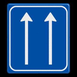 Verkeersbord aantal doorgaande rijstroken Verkeersbord RVV L07-2 Pijlbord Rijstroken L07-2-rd-rd