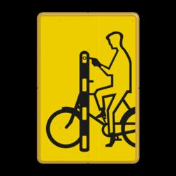 Verkeersbord Drukknop fietser Verkeersbord RVV VR01 geel/zwart - 200x300mm - Fietsers VR01