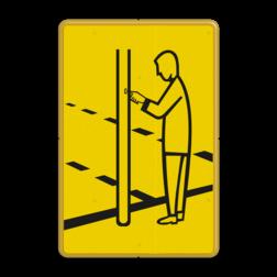 Verkeersbord Drukknop voetgangers Verkeersbord RVV VR03 geel/zwart - 200x300mm - Voetgangers VR03