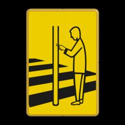 Verkeersbord Drukknop voetgangers zebrapad Verkeersbord RVV VR02 geel/zwart - 200x300mm - Voetgangers VR02
