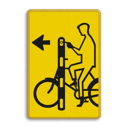 Verkeersbord Drukknop fietser met pijl Verkeersbord RVV VR01la geel/zwart - 200x300mm - Fietsers VR01la