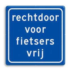 Verkeersbord rechtdoor voor fietsers vrij Verkeersbord RVV VR06rd - rechtdoor vrij VR06rd