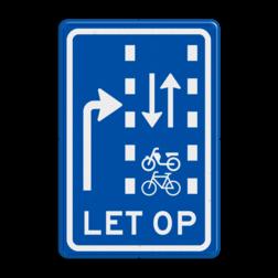 Verkeersbord Let op: recht doorgaande (brom)fietsers in twee richtingen Verkeersbord RVV VR09-04 - Let op: recht doorgaande fietsers en bromfietsers in twee richtingen VR09-04