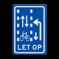 Verkeersbord Let op: rechtdoorgaande fietsers in twee richtingen Verkeersbord RVV VR10-03 - Let op: recht doorgaande fietsers in twee richtingen VR10-03