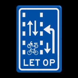 Verkeersbord Let op: recht doorgaande (brom)fietsers in twee richtingen Verkeersbord RVV VR10-04 - Let op: recht doorgaande fietsers en bromfietsers in twee richtingen VR10-04