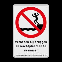 Informaiebord Verboden bij bruggen en wachtplaatsen te zwemmen. Binnenvaartpolitieregelement artikel 8.08 Informaiebord BPR verboden te zwemmen art. 8.08 Boothelling