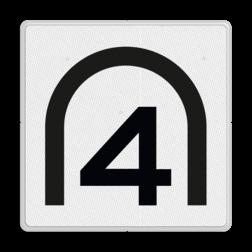 Entreesnelheidsbord Aan het begin van de tunnel of dalende helling rijden toegestaan met de door het getal aangegeven snelheid. Geldt alleen voor bestuurders van treinen bestemd voor het vervoer van goederen en van treinen die door de betrokken spoor-wegonderneming zijn aangewezen. Entreesnelheidsbord - RS 281 - 500x500mm - Reflecterend SH RS 281