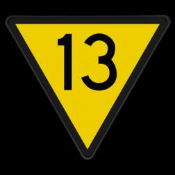 Snelheidsverminderingsbord Snelheid begrenzen tot de door het getal aangegeven snelheid. Deze snelheid moet voor het volgende bord 'Nr. 314 Snelheidsbord' bereikt zijn. Indien voor het bord rijden was toegestaan ingevolge een groenvariant: Snelheid begrenzen tot de door het getal aangegeven snelheid. Snelheidsverminderingsbord - RS 313 - 10 of hoger - Reflecterend SH RS 313