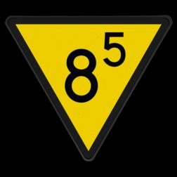 Snelheidsverminderingsbord Snelheid begrenzen tot de door het getal aangegeven snelheid. Deze snelheid moet voor het volgende bord 'Nr. 314 Snelheidsbord' bereikt zijn. Indien voor het bord rijden was toegestaan ingevolge een groenvariant: Snelheid begrenzen tot de door het getal aangegeven snelheid. Snelheidsverminderingsbord - RS 313 - 1 getal en decimaal - Reflecterend SH RS 313