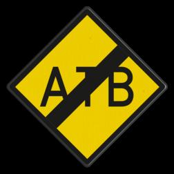 ATB-uitschakelbord Aanduiding van het einde van het gebied waar het automatische treinbeïnvloeding systeem ATB of ATBNG functioneert. ATB-uitschakelbord - RS 329 - 500x500mm - Reflecterend RS 329