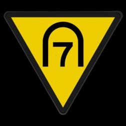 Entreesnelheidsverminderingsbord Snelheid begrenzen tot de door het getal aangegeven snelheid. Deze snelheid moet bereikt zijn bij het eerstvolgende sein 'Nr. 281 Entreesnelheidsbord'. Geldt alleen voor bestuurders van treinen bestemd voor het vervoer van goederen en van treinen die door de betrokken spoorwegonderneming zijn aangewezen. Entreesnelheidsverminderingsbord - RS 286 - Reflecterend SH RS 286