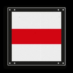 Afsluitbord Bord op wisselindicator. Stoppen vóór het sein. Indien het sein op een beweegbare brug is geplaatst, stoppen voor de brug. Eventueel is het bord bij een stootjuk dubbel uitgevoerd en/of voorzien van een rode lamp. Afsluitbord vlak - RS 243 - 300x300mm - Reflecterend ST RS 243