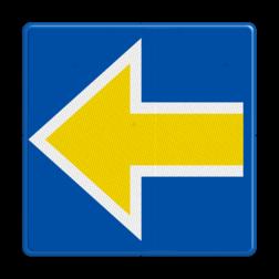 Bord Stopplaatsmarkering voor treinen die onder ETCS-cabineseingeving of een ETCS-rijtoestemming rijden of in SR mode rijden. De punt wijst naar het spoor waarvoor het sein geldt. Bord Stopplaatsmarkering links - RS 227b - 500x500mm - Reflecterend RS 227b