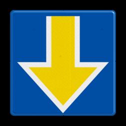 Bord Stopplaatsmarkering voor treinen die onder ETCS-cabineseingeving of een ETCS-rijtoestemming rijden of in SR mode rijden. De punt wijst naar het spoor waarvoor het sein geldt. Bord Stopplaatsmarkering onder - RS 227b - 500x500mm - Reflecterend RS 227b