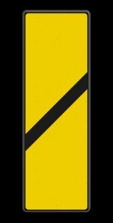 Bord Aanduiding van de nadering van een lichtsein dat op ten minste remwegafstand voorafgaat aan een lichtsein voorzien van een bord bijzonder gevaarpunt nr. 251a/l. Bord Gele bakens 1 schuine balk - RS 251a/II - 330x1000mm - Reflecterend BB RS 251a/II B1