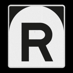 'R'-bord Stoppen vóór het sein. Geldt alleen voor bestuurders van treinen waarmee wordt gerangeerd. 'R'-bord - RS 302 - 650x720mm - Reflecterend ST RS 302