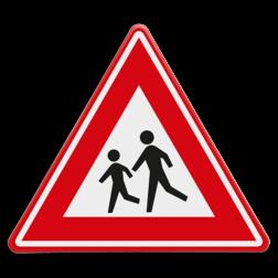 Verkeersbord Overstekende kinderen (spelende) Verkeersbord RVV J21 - Vooraanduiding overstekende kinderen