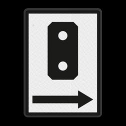 Bord Aanduiding van de plaatsing van de seinen aan de rechterzijde van het spoor waarvoor zij bestemd zijn. Bord Seinen rechts naast spoor - RS 349 - 500x700mm Nederlands – Belgisch baanvakken RS 349