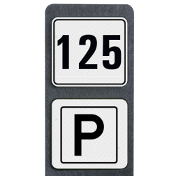 Huisnummerpaal met BORD Modern met P buitengebied, huisnummer, nummer, huis, buiten, gebied, paal, Modern, huisnummerbord, Dubbel, , Huisnummerpaal, Huisnummerpalen